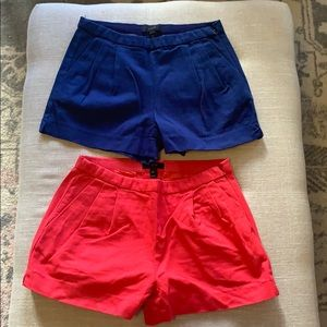 Pair of J Crew Linen shorts navy and red